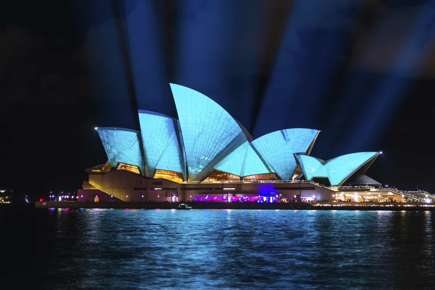 Sydney Opera House shown during Vivid Sydney: A Festival of Light, Music & Ideas in Sydney, Australia.