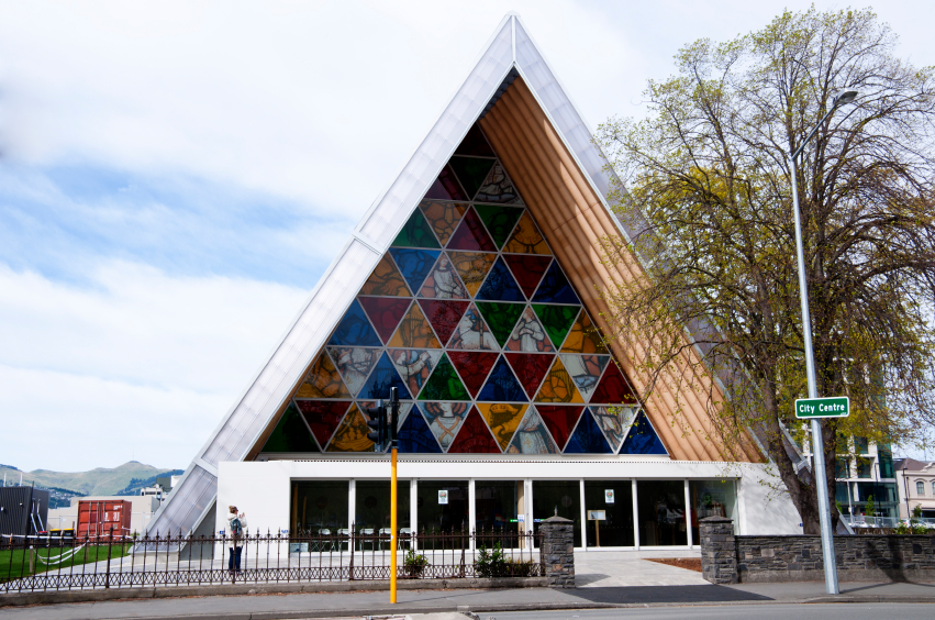 Christchurch, New Zealand -  October 10, 2013: The new Anglican Cathedral made from rolls of cardboard  in Christchurch, New Zealand. The church was opened in August 2013.