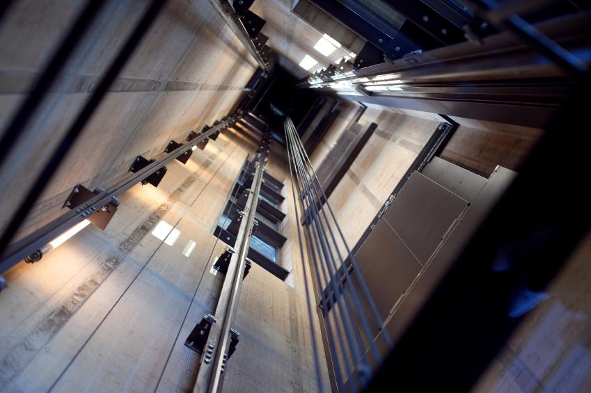 Inside a lift showing the mechanisms