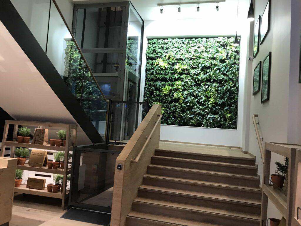 glass passenger lift installed at Vapiano Glasgow