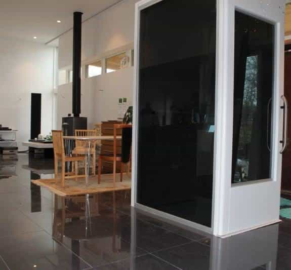 Qube Black Glass Lift Shaft1 575x533 - Qube Home Lift