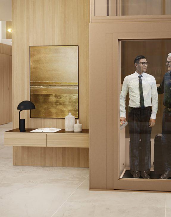 al5 aluminium door in living room with people hero 1920x800 575x730 - Qube 4 Platform Lift