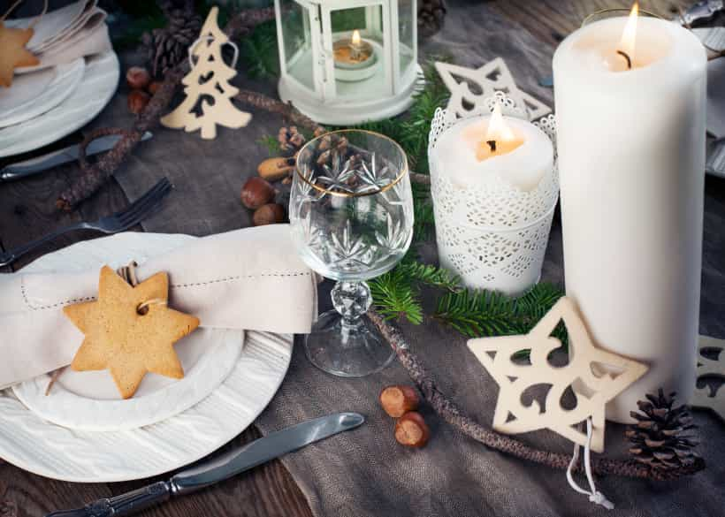 Christmas table setting. Holiday Decorations.