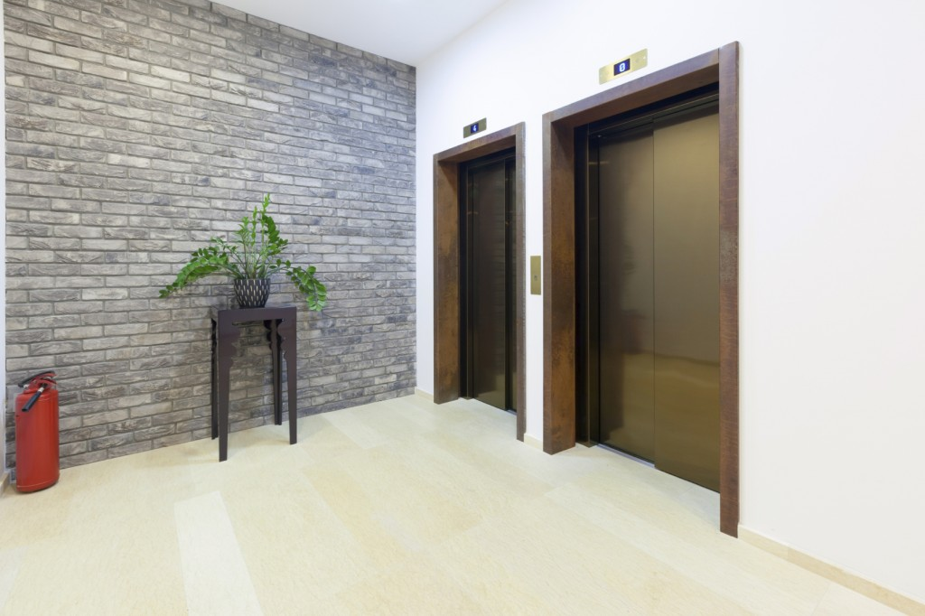 Two elevators in a modern building