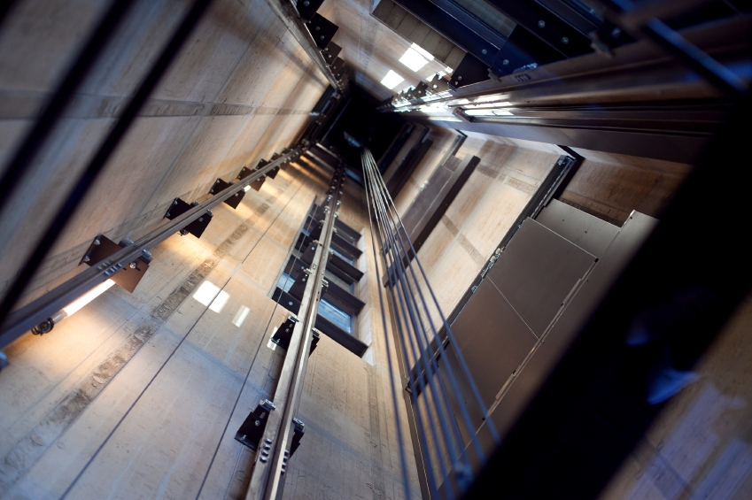 Inside a lift showing the mechanisms