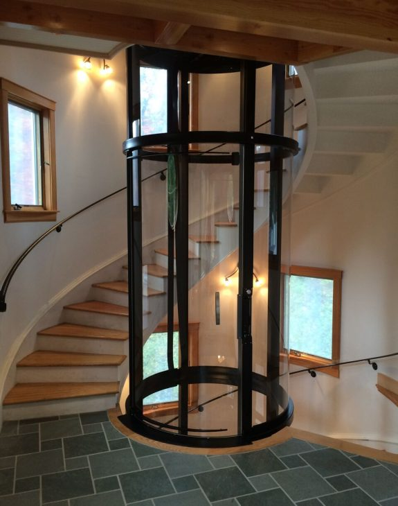 gallery savaria vuelift round in spiral staircase with windows img fifteen 575x730 - Round/Circular Lift